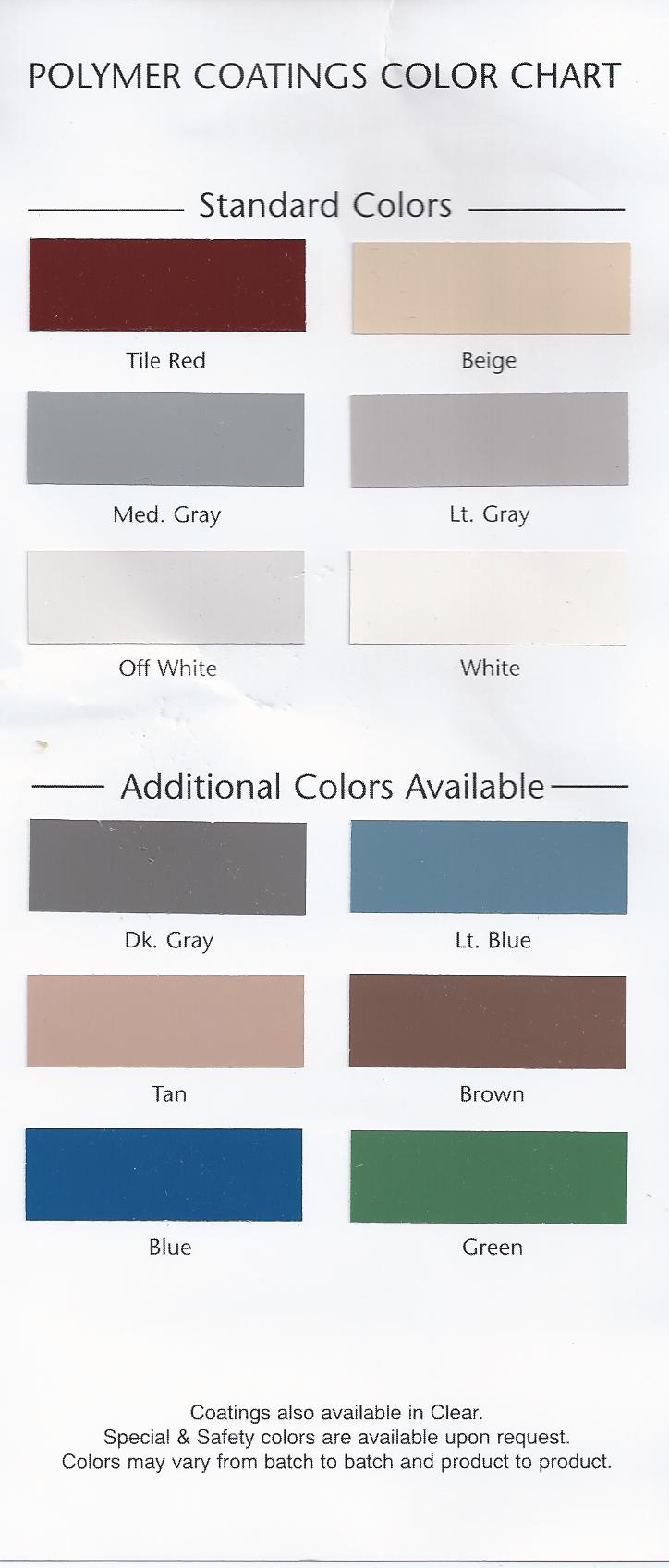 Industrial Epoxy Color Chart Monterey Santa Barbara