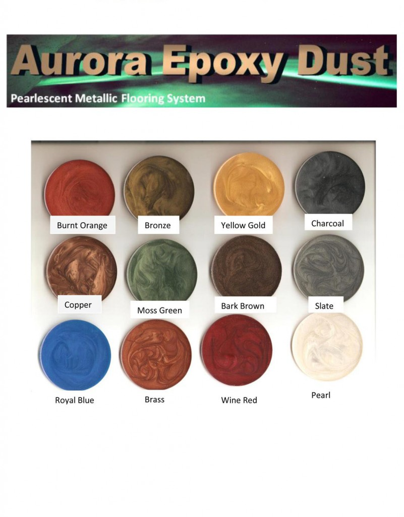 Epoxy Dust COLOR CHART Paso Robles Monterey Santa Barbara
