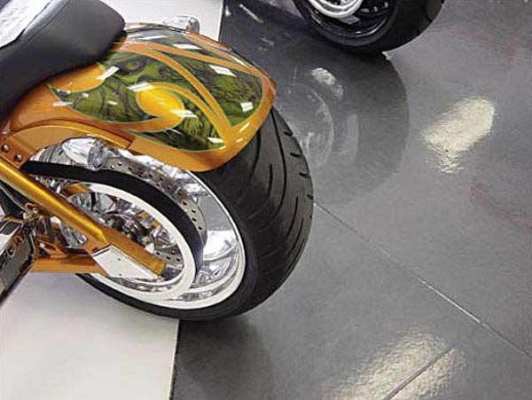 epoxy flooring for retail motorcycle store