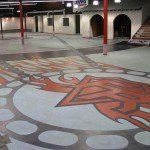 custom floor logo in concrete