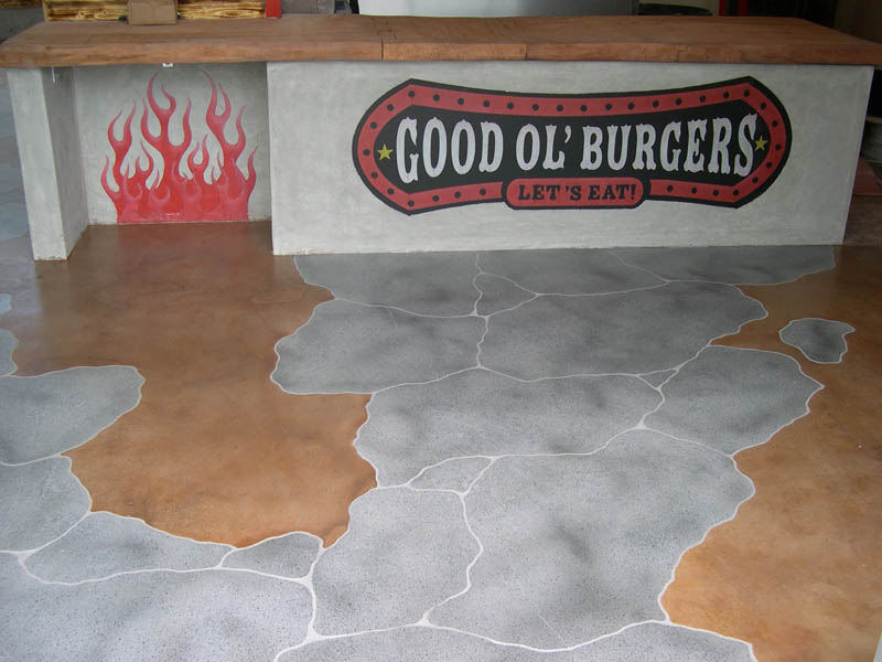 custom floor logo in concrete