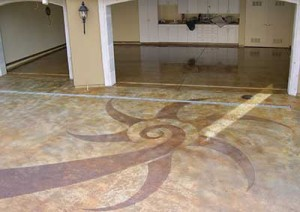 stained concrete compass rose patio pools designs